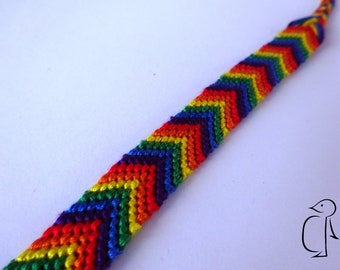 LGBT+ gay pride flag rainbow chevron pattern cotton friendship bracelet
