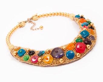 CHERISH - statement necklace, beaded necklace, multi colored necklace, agate necklace, joyfull necklace, semi precious stone necklace