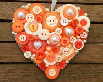 Hanging button heart, orange, peach and ivory, wedding, Bridesmaid or birthday gift, UK seller