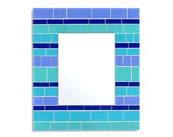 """14x16"""" Glass Mosaic Wall Mirror in Blue, Teal, and Turquoise Stained Glass Tiles for Beach House"""