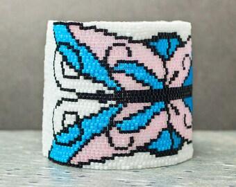 Beaded Bracelet, Butterfly Bracelet, Cuff Bracelet, Peyote Bracelet, Seed Bead Bracelet, Gift Idea, Wide Cuff Bracelet
