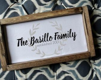 Family Name wood frame, Custom Frame, Personalized Sign, Family wood frame, Rustic frame, Rustic Frame, Wedding Gift, 2nd Anniversary gift