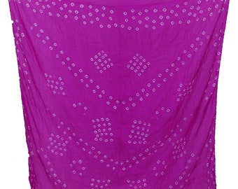 Hand-Printed Art Silk Scarf Mandala Solid Color, 41 x 41 Inches (Hot Pink)