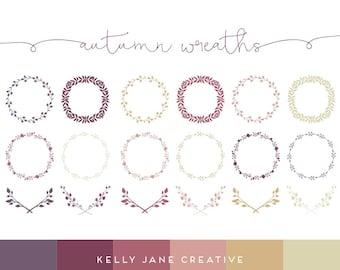 Autumn Wreath & Laurel Clip Art - Vector Clipart