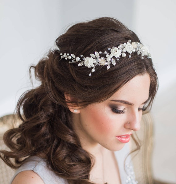 BLOOM Bridal Hair Vine Wedding Tiara Diadem Pearl Hair