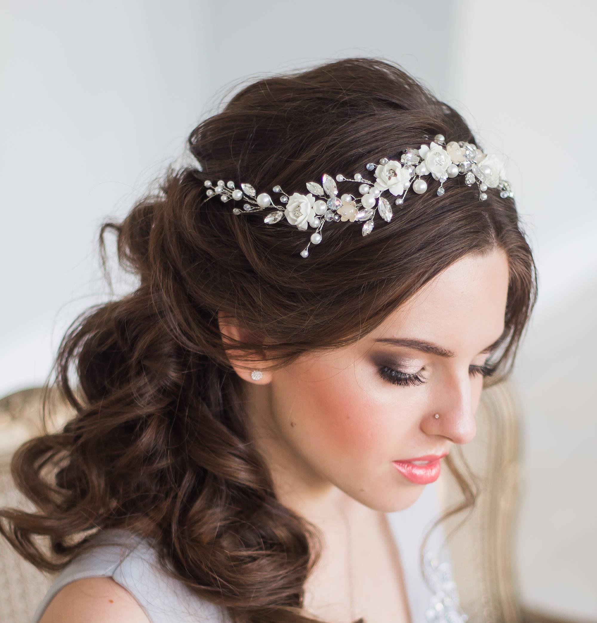 Hairstyles For Wedding Using A Crown: BLOOM Bridal Hair Vine Wedding Tiara Diadem Pearl Hair
