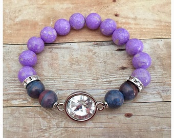 Swarovksi Crystal Bracelet, Clear Crystal, Beaded Bracelets, Gemstone Bracelet, Stretch Bracelet, Purple Bracelet