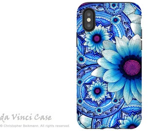 Blue Mexican Floral iPhone X Tough Case - Dual Layer Protection for iPhone 10 - Talavera Alejandra -  by Da Vinci Case
