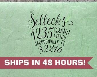 Custom Family Address Stamp, Sellecks Script Font, Personalized Return Address Stamps, Anniversary & Housewarming Gifts