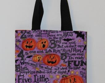 Pumpkin Tote Bag, trick or treat bag, Halloween tote