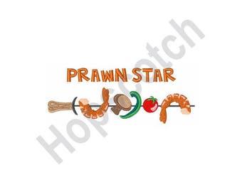 Prawn Star - Machine Embroidery Design, Shrimp And Vegetables, Skewer