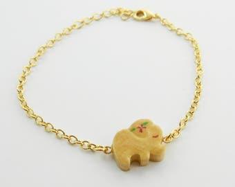Wooden Elephant Charm Bracelet