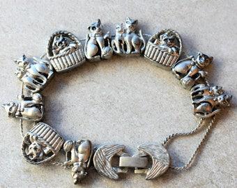 Cat Charm Bracelet Vintage Tofa