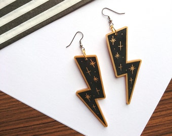 Black Lightening Bolt Earrings by Misfit Makes. Black Statement Earrings. Geometric Dangle Earrings. Acrylic Jewellery