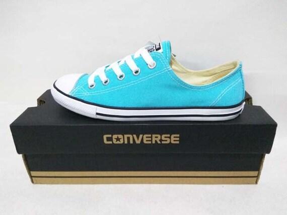 Blue Converse Dainty Turquoise Aqua Custom Bridal Wedding Slip Ons Kicks w/ Swarovski Crystal Bling Chuck Taylor All Star Sneakers Shoes