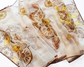 Mothers day gift- Hand Painted Silk Scarf- pastel brown Scarf- Mandala Scarf- brown mandala scarf- Scarf for women- painted summer scarf