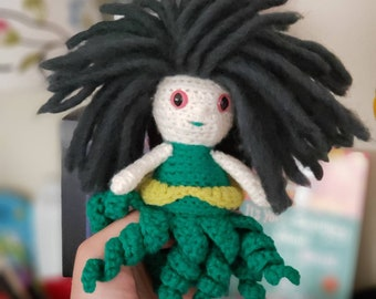 Sea Witch Doll, Cecaelia Doll, Crochet Sea Creature, Fantasy Doll, Crochet Sea Witch, Mermaid Themed Childs Gift, Mermaid Birthday Gift