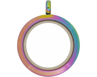 25mm Magnetic Multicolor Stainless Steel Floating Locket, Rainbow Locket (L-25M-PL-MG), USA Seller, Fast Low Shipping