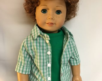Green and White Plaid Button Down Shirt 18 inch doll clothes 18 inch boy doll clothes