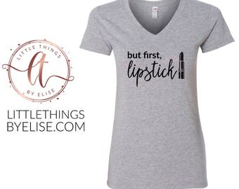 But First, Lipstick V Neck Tee, Gray