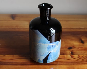 Apothecary Reagents Bottle in Black with Silver Leaf