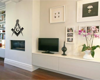 Large Masonic sign Decal, Office decor, Vinyl Wall Sticker, Art sticker decal, Masonic supply, Masonic accessories 1297_large