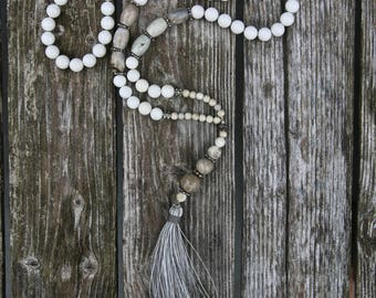 White and Crazy Lace Agate Tassel Necklace