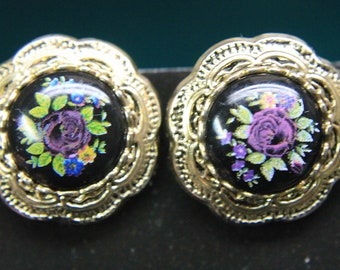 Vintage Needle point style Clip on Earrings