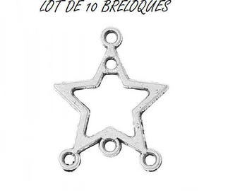 SET of 10 charms connector 4 holes (D10) silver tone star