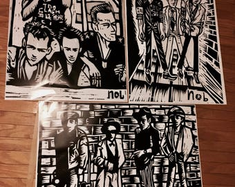 The Clash 3 posters set (wood cutting print)