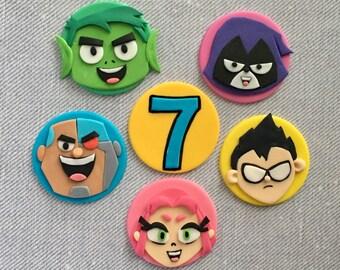 12 Teen Titans Go themed fondant cupcake topper (Robin, Starfire, Raven, Beast Boy and Cyborg)