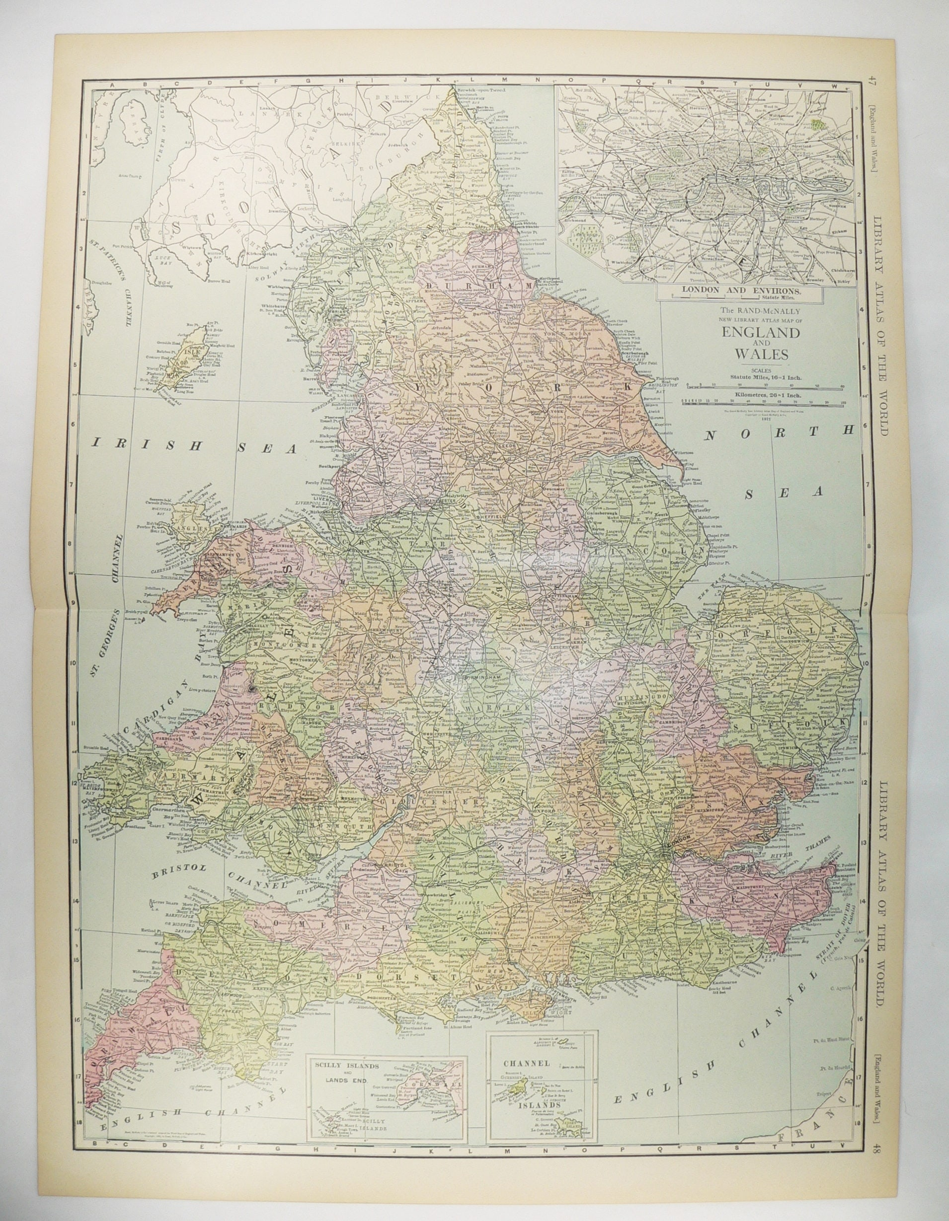 Large Map Of England Vintage Map United Kingdom Great - Large wall map of uk