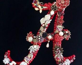 Alabama Crimson Tide Vintage Jewelry Wall Art  Home Decor  Roll Tide Decor  Alabama Football  Jeweled Alabama A   T-Town