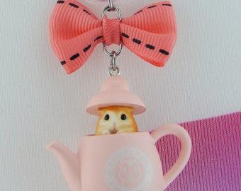 Sweet, hamster, mug, tea, cafe de ham, pink, candy, Gashapon, Japan, chain, bow, car, pendant, anime, Otaku, Kawaii, teapot