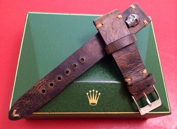 Leather watch band, Dark brown, handmade leather watch strap, Leather Strap (with Skull metal pin) for Rolex, IWC - 20mm lug, Free Shipping