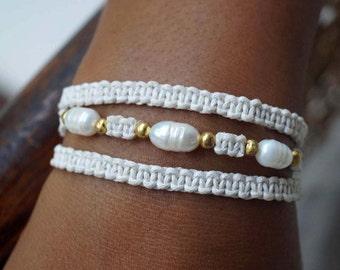 Wedding Pearl Bracelet, Boho Wedding Bracelet, Bridal Pearl Bracelet, Macrame Bracelet, 1 Piece