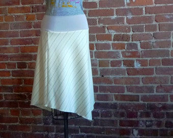 Womens Skirt in Cream and Gray Pinstripe Wool Twill, Organic Bamboo, Stretchy Waistband,  Size 4, Size 6, Office, Winter Skirt, Size Small