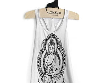 Fitted XL- Light Gray Racerback Tank with Buddha Screen Print