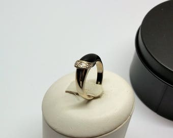 Designer Ring white gold 585 Gold Onyx Black Moissanite GR121