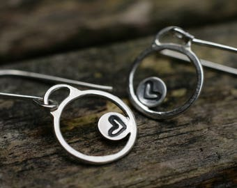 Silver Heart Earrings, Heart Earrings, Valentines Gift, Silver Circle Earrings, Circle Earrings, Sterling Silver Dangle Earrings, Handmade