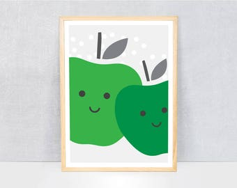 apple print / kids art print / kids wall art / cute illustration / bright colours / kids poster print / fruit