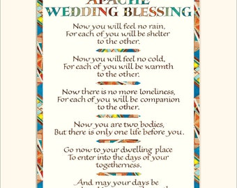 "Apache Wedding Blessing, 11x14"" wedding blessing print, wedding gift, calligraphy print"