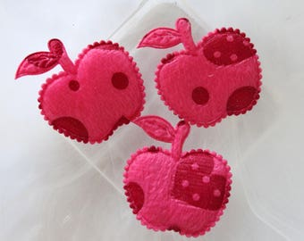 set of 2 apples fuchsia fabric scrapbooking