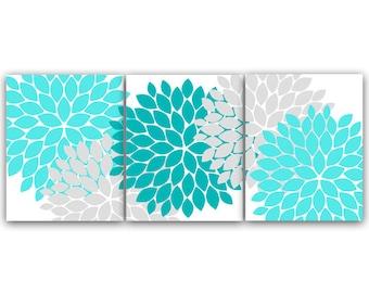 Home Decor CANVAS Or PRINTS, Home Decor Wall Art, Aqua And Gray Flower Burst