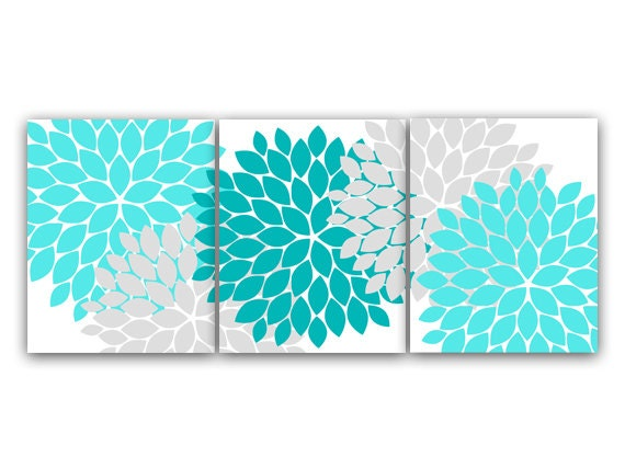 Home decor canvas or prints home decor wall art aqua and for Teal and grey bathroom sets
