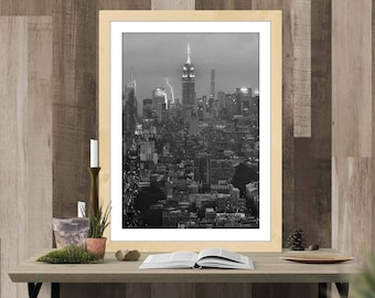 Empire State Building Lightning Storm - Black and White Oil Painting Simulation - INSTANT Download Wall Poster Art