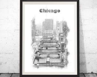Chicago Skyline, Chicago Print, Chicago Poster, Chicago Illinois Art, Chicago Art Print, Black and White Chicago Poster, Large Poster City