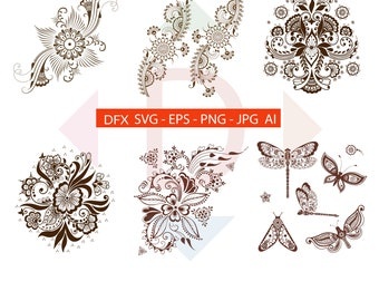 Digital download Henna collection eps, animal eps, mehndi style animal eps, floral henna, floral mehndi  vector Ai,Jpg,Svg,eps,dxf