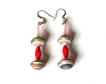 Bead Earring, Quirky Jewelry, Dangle Earring, Drop Earring, Multicolored Earring's, Gift Earring, Ooak Earring, Boho Earrings, Gift for Her