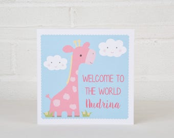 Personalised New Baby Card, Giraffe New Baby Card, Custom Card for a Baby, New Baby Gift, Welcome to the World Card, Baby Boy or Girl Card